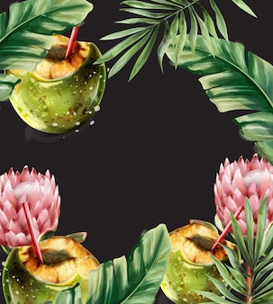 Tarjeta tropical de cóctel de coco. verano caliente fondo exótico coco bebida estilo acuarela