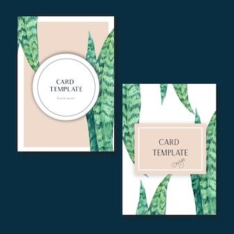 Tarjeta tropical de diseño invitato en verano con plantas follaje exótico.