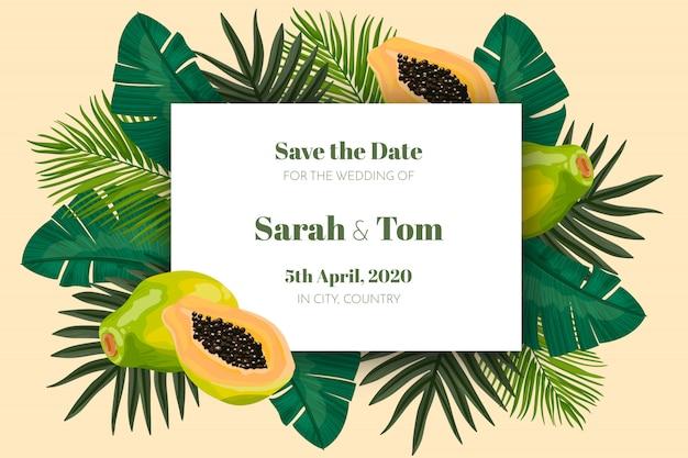 Tarjeta tropical de guardar la fecha
