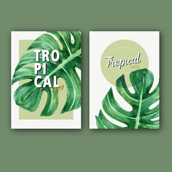 Tarjeta tropical invitación verano con plantas follaje exótico, acuarela creativa.