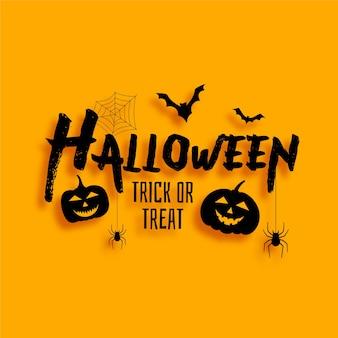 Tarjeta de truco o trat de halloween con murciélagos y calabazas aterradoras