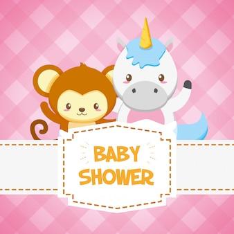 Tarjeta de unicornio y mono para baby shower