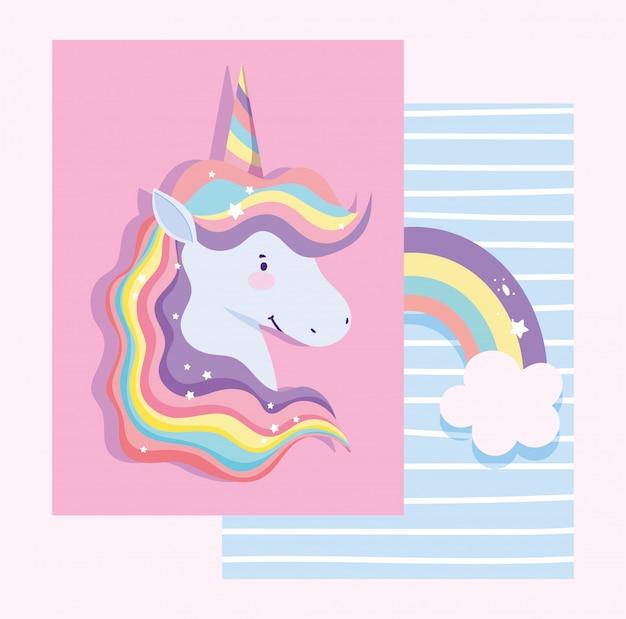 Tarjeta con unicornio con pelo arcoiris y arcoiris con nubes