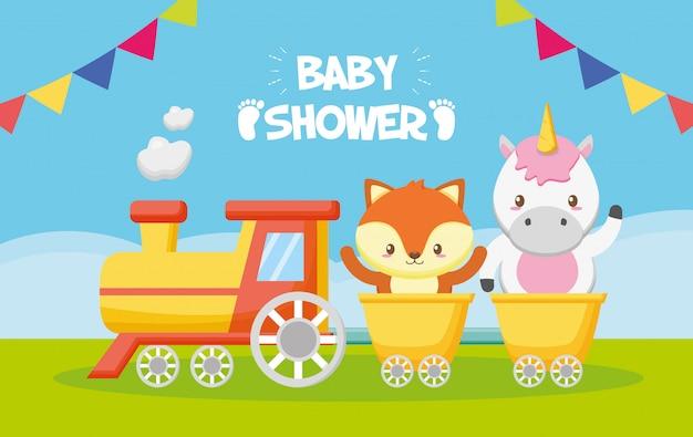 Tarjeta de unicornio y zorro en tren para baby shower