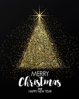 Tarjeta de vacaciones de año nuevo golden christmas tree