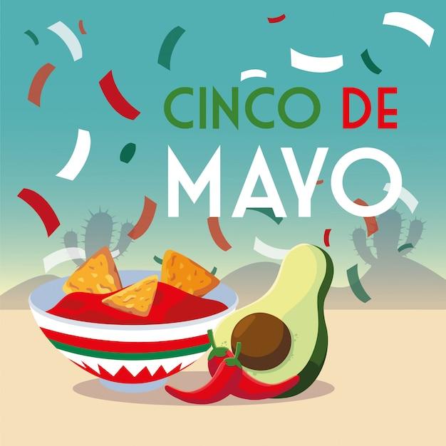 Tarjeta de vacaciones cinco de mayo con comida mexicana