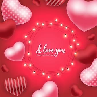Tarjeta de vacaciones del día de san valentín con globos aerostáticos rojos rojos 3d, guirnaldas brillantes con bombillas cita de letras a mano te amo