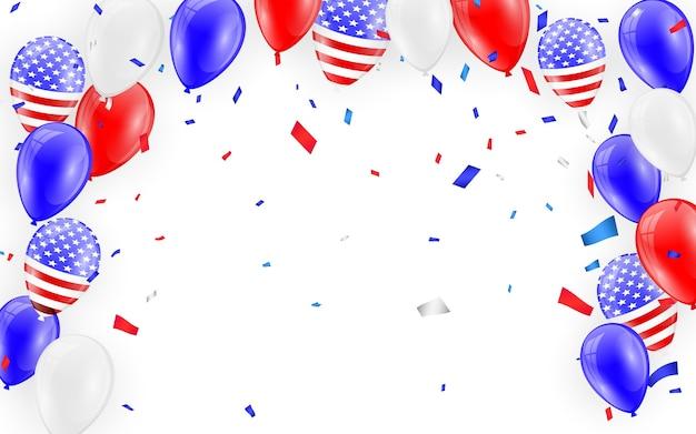 Tarjeta de vacaciones. globos de bandera americana con fondo de confeti.