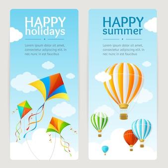 Tarjeta de vacaciones de verano con cometa y globo. vertical. ilustración vectorial