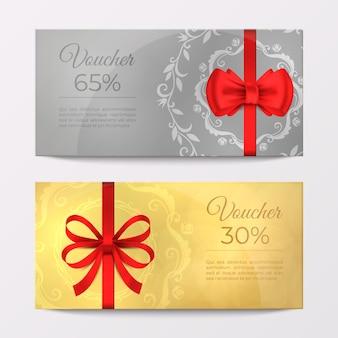 Tarjeta de vale de certificado de lujo de regalo. cupón de celebración elegante de cinta roja. folleto de promoción de descuento de oro y plata de ilustración vectorial realista