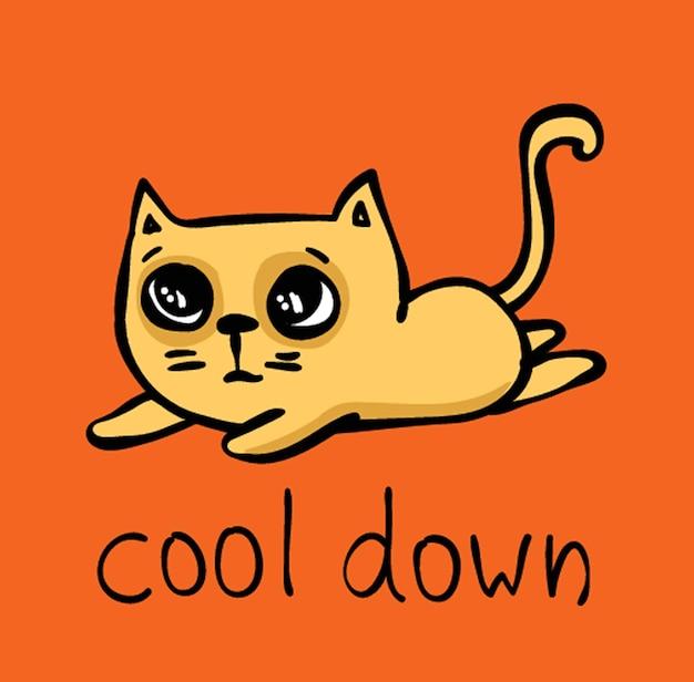 Tarjeta de vector con color doodle lindo gato con texto divertido - enfriar