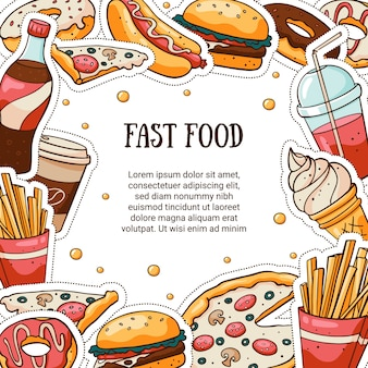 Tarjeta de vector de comida rápida con marcador de posición de texto