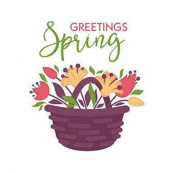 Tarjeta de vector de felicitación de primavera con cesta de flores