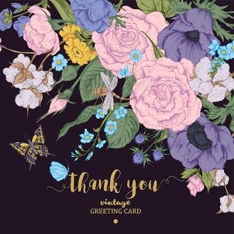 Tarjeta de vector floral vintage con rosas, anémonas y mariposa