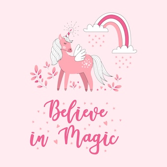 Tarjeta de vector lindo unicornio ilustración con citas