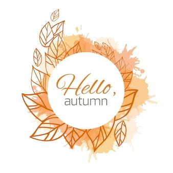 Tarjeta de vector de otoño con hojas de doodle y splash amarillo
