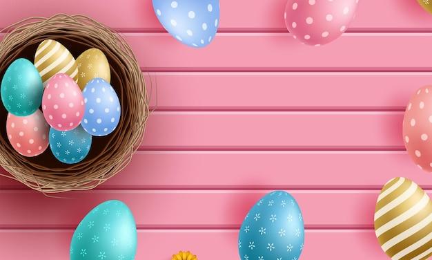 Tarjeta de vector de plantilla con flores y huevos realistas