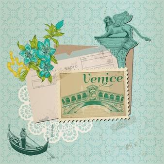 Tarjeta venecia vintage con sellos