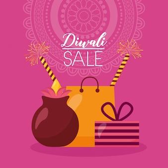 Tarjeta de venta de diwali con bolsa de compras y velas