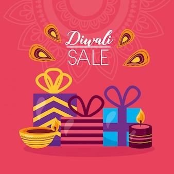 Tarjeta de venta de diwali con celebración de regalos