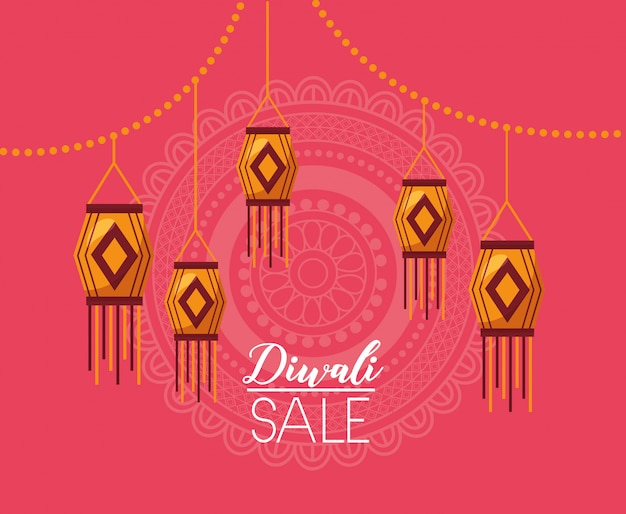 Tarjeta de venta de diwali con lámparas colgantes celebración