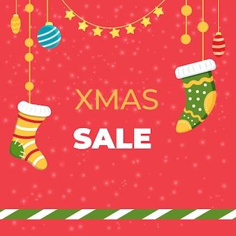Tarjeta de venta de navidad cuadrada de navidad con calcetines de navidad. ilustración vectorial.