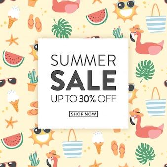 Tarjeta de venta de verano con lindas ilustraciones temáticas de verano, ideal para tiendas con productos promocionales para el verano.