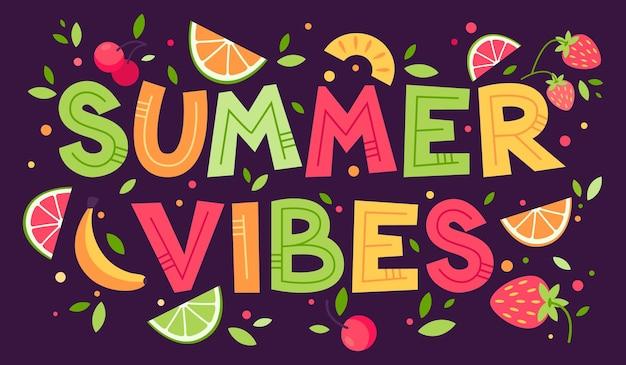 Tarjeta de verano colorida con diferentes frutas y letras dibujadas a mano ilustración de dibujos animados planos