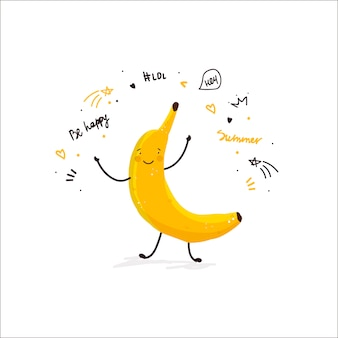 Tarjeta de verano del ejemplo del bosquejo del garabato de la historieta linda de la fruta del plátano