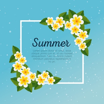 Tarjeta de verano con flores exóticas y hojas tropicales.
