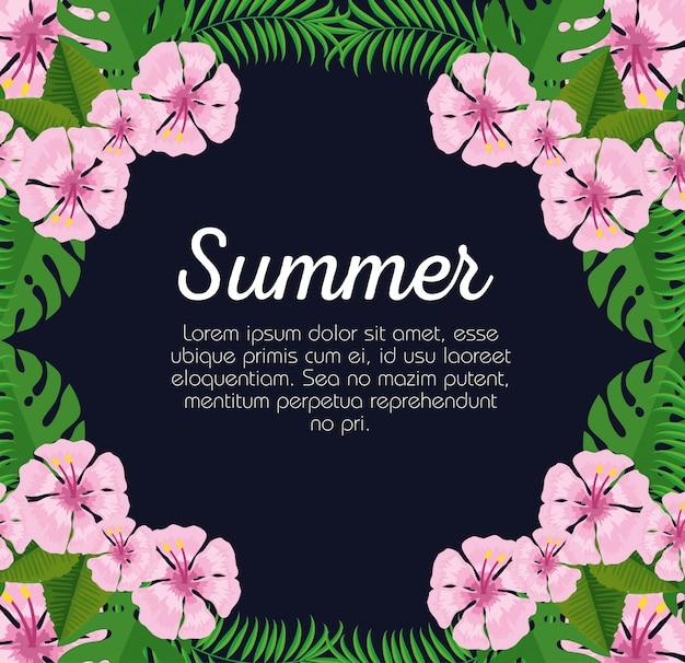 Tarjeta de verano con flores exóticas y hojas