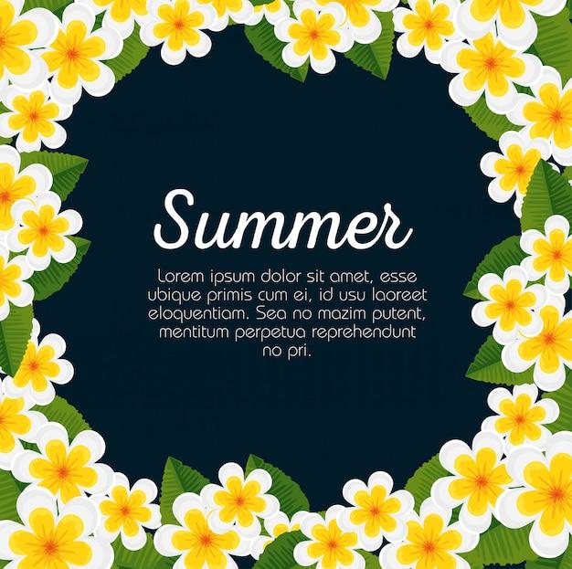 Tarjeta de verano con flores y hojas tropicales.