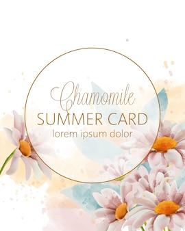Tarjeta de verano de flores de manzanilla con lugar para texto en círculo dorado