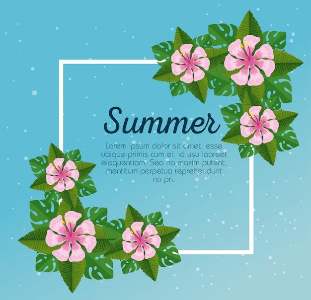 Tarjeta de verano con flores tropicales y hojas