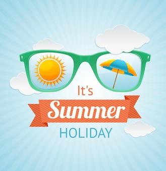 Tarjeta de verano de gafas de sol. el concepto de unas buenas vacaciones en la playa