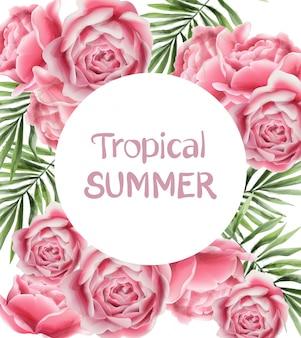 Tarjeta de verano tropical con flores rosas.