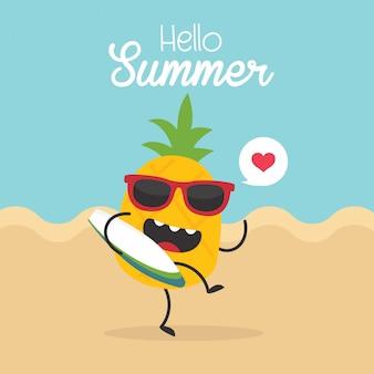 Tarjeta de verano vintage con vector piña, tabla de surf y gafas de sol