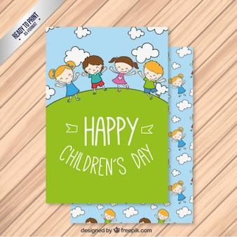 Tarjeta verde del día de los niños