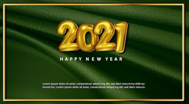 Tarjeta verde de feliz año nuevo de lujo con números de globo dorado