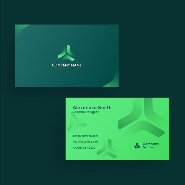Tarjeta verde o tarjeta de visita en la vista frontal y posterior.