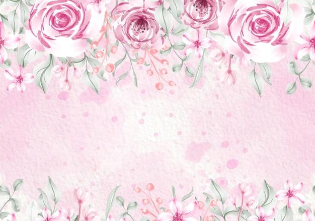 Tarjeta de verde púrpura pastel rosa colorida con ilustración de marco de flores silvestres