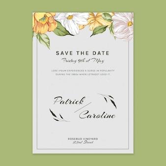 Tarjeta vertical floral para boda