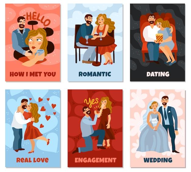 Tarjeta vertical de relaciones amorosas en desarrollo