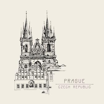 Tarjeta de viaje con dibujo en croquis negro de la iglesia nuestra señora antes de tyn