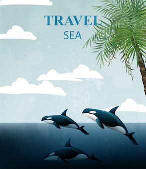 Tarjeta de viaje de verano con ballenas