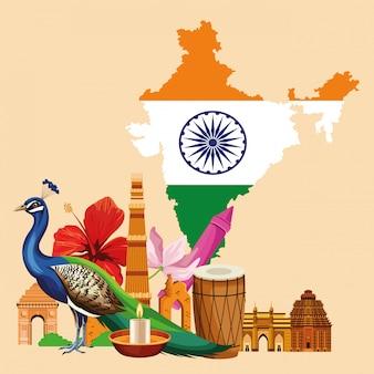 Tarjeta de viajes y turismo de la india.
