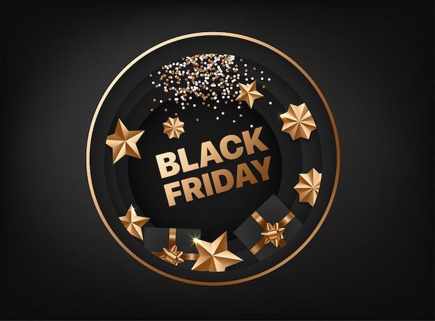 Tarjeta de viernes negro con elementos dorados