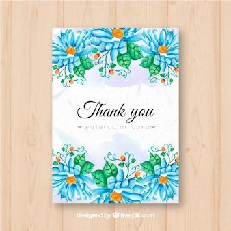 Tarjeta vintage de agradecimiento con flores azules
