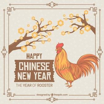 Tarjeta vintage de año nuevo chino del gallo dibujado a mano