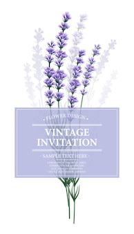 Tarjeta vintage con flor de lavanda.